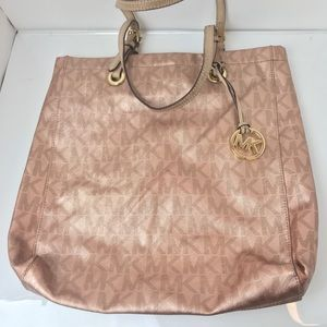 Michael Kors rose gold pink handbag purse